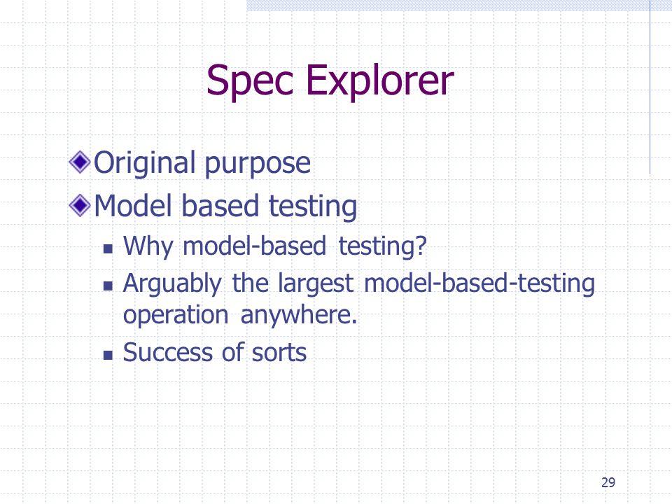 Spec Explorer Original purpose Model based testing Why model-based testing? Arguably the largest model-based-testing operation anywhere. Success of so