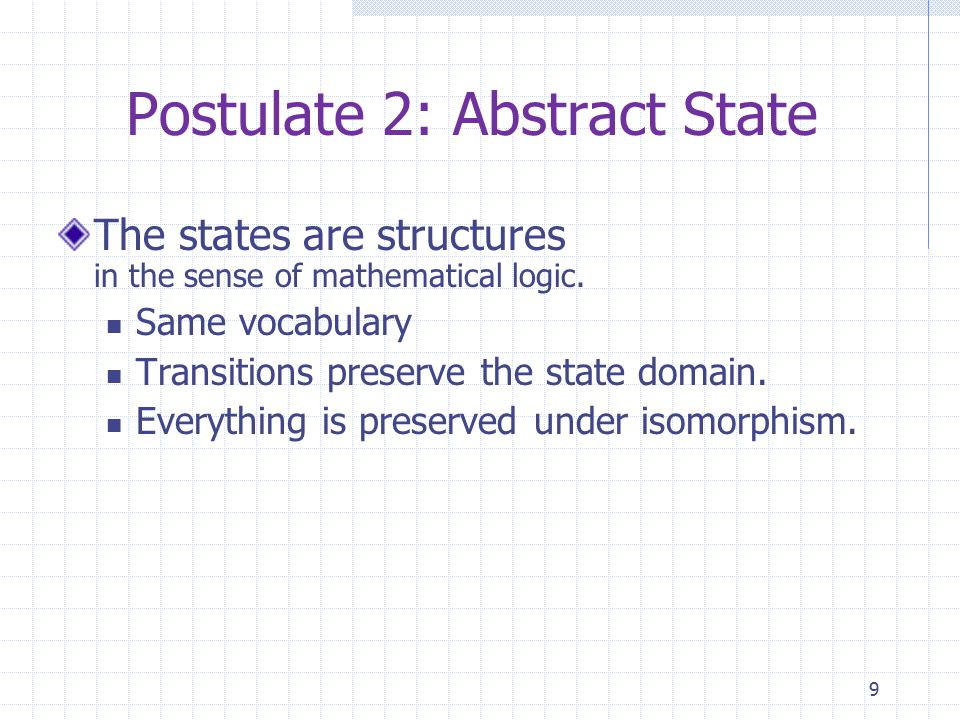 9 Postulate 2: Abstract State The states are structures in the sense of mathematical logic.