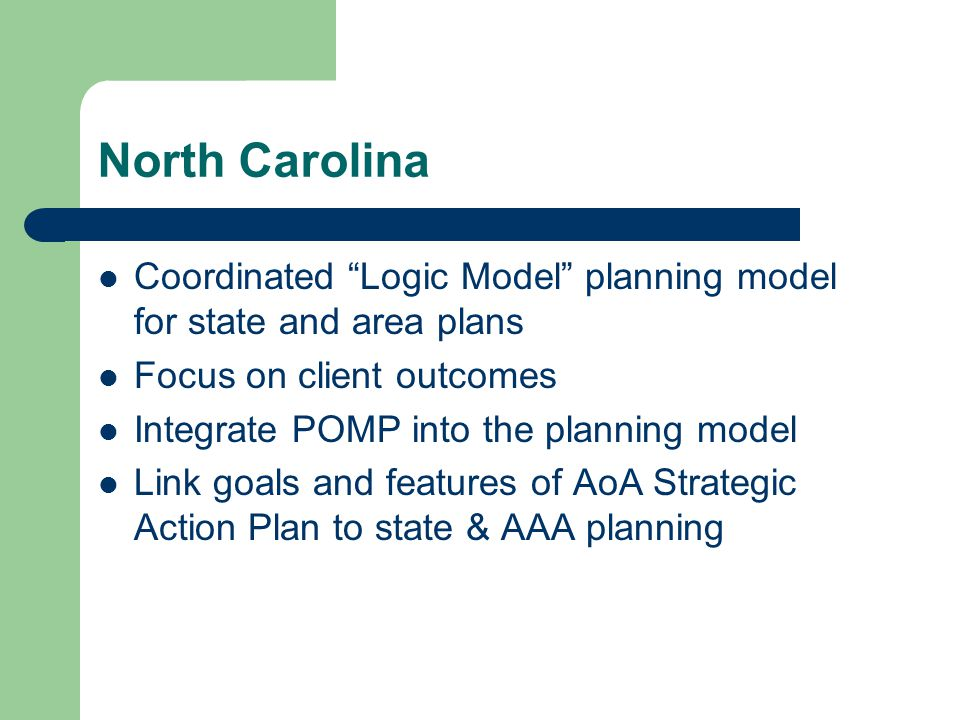 North Carolina Coordinated Logic Model planning model for state and area plans Focus on client outcomes Integrate POMP into the planning model Link goals and features of AoA Strategic Action Plan to state & AAA planning