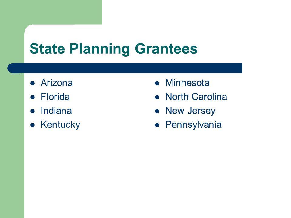 State Planning Grantees Arizona Florida Indiana Kentucky Minnesota North Carolina New Jersey Pennsylvania