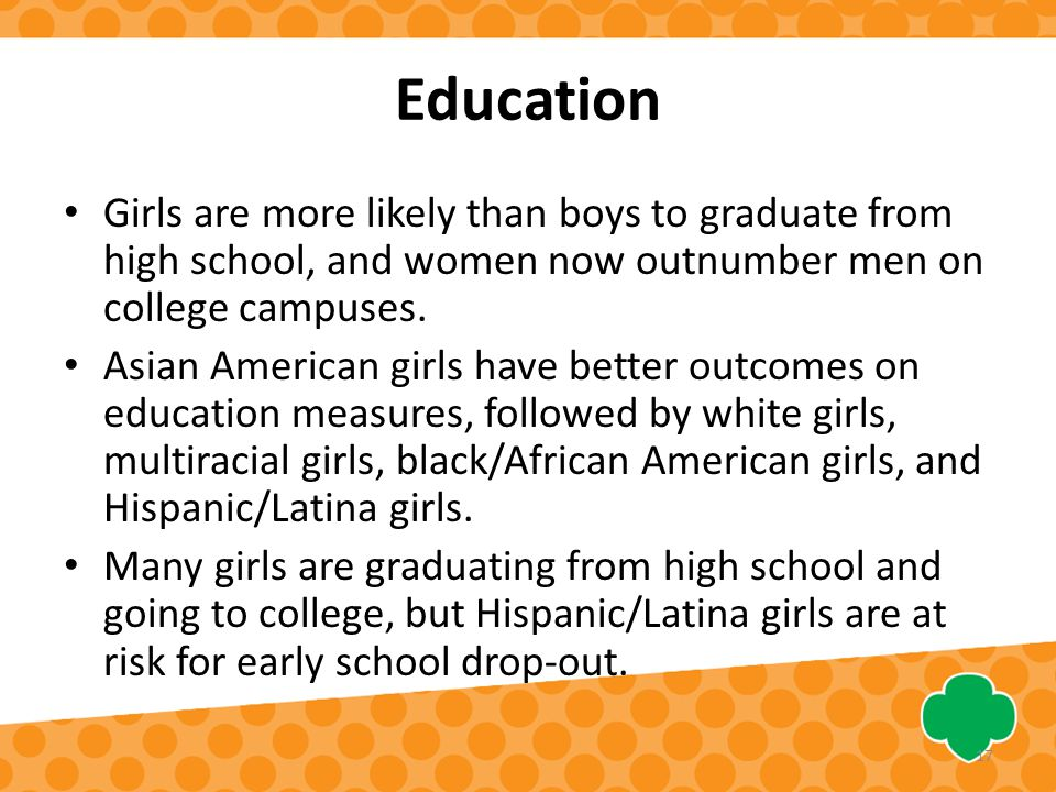 Education Girls are more likely than boys to graduate from high school, and women now outnumber men on college campuses.