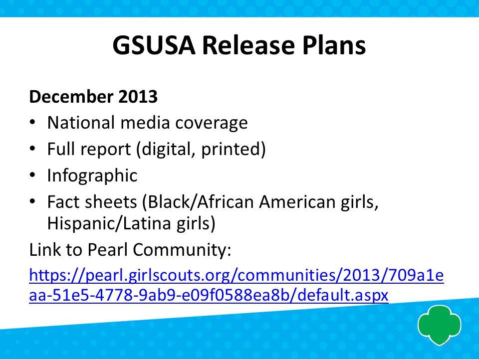 GSUSA Release Plans December 2013 National media coverage Full report (digital, printed) Infographic Fact sheets (Black/African American girls, Hispan