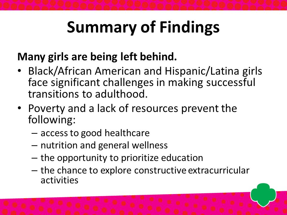 Summary of Findings Many girls are being left behind.