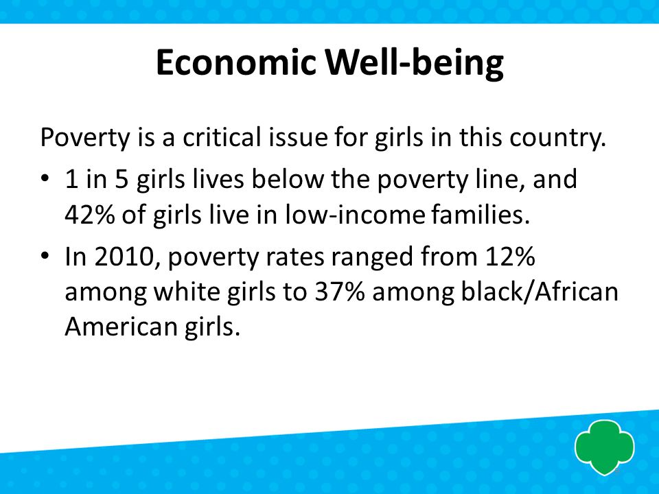 Economic Well-being Poverty is a critical issue for girls in this country. 1 in 5 girls lives below the poverty line, and 42% of girls live in low-inc