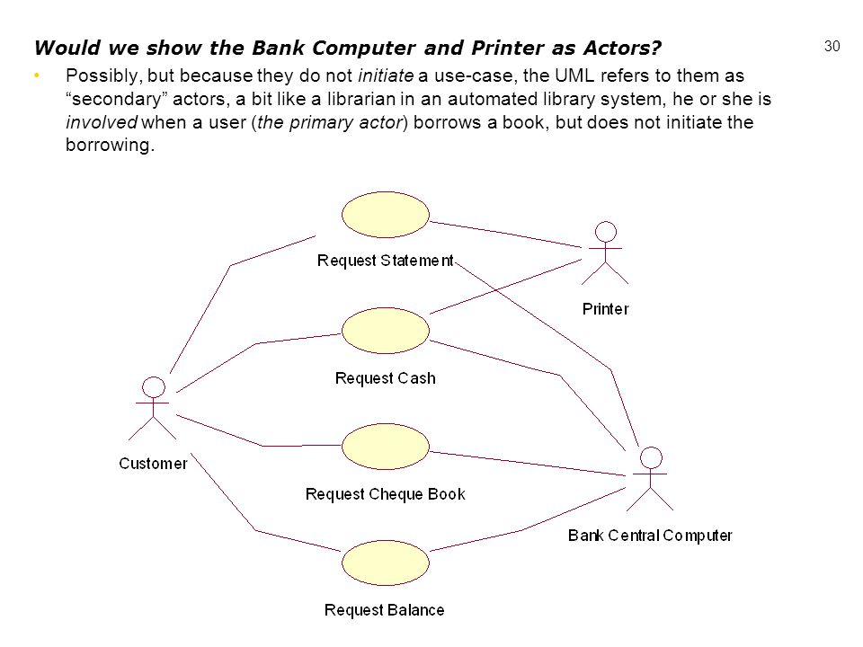 """30 Would we show the Bank Computer and Printer as Actors? Possibly, but because they do not initiate a use-case, the UML refers to them as """"secondary"""""""