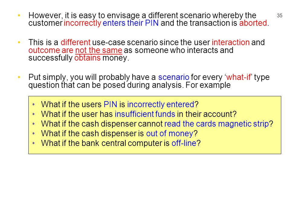 35 However, it is easy to envisage a different scenario whereby the customer incorrectly enters their PIN and the transaction is aborted. This is a di