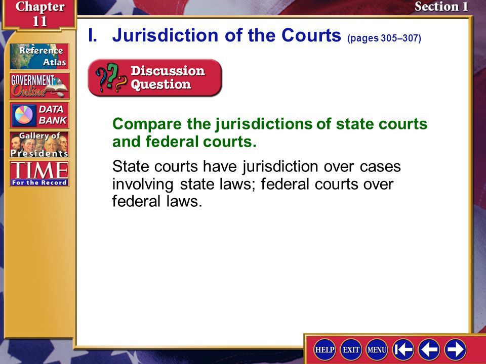Section 1-3 I.Jurisdiction of the Courts (pages 305–307)