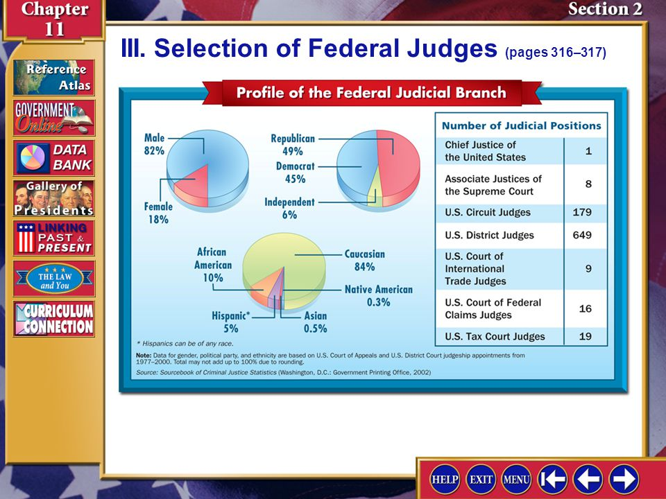 Section 2-9 D.In selecting judges for trial courts, presidents follow the practice of senatorial courtesy. E.Almost all federal judges have had legal