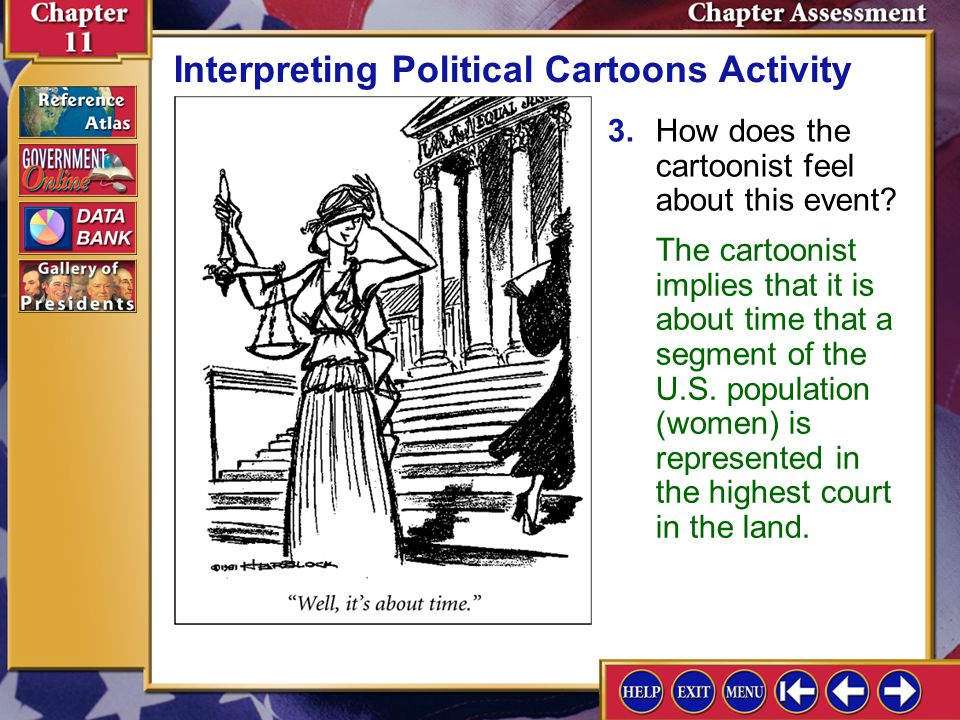 Chapter Assessment 13 2.Does the cartoonist comment on the qualities or experience of the justice? Interpreting Political Cartoons Activity No, the ca