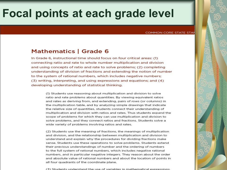 10 Focal points at each grade level