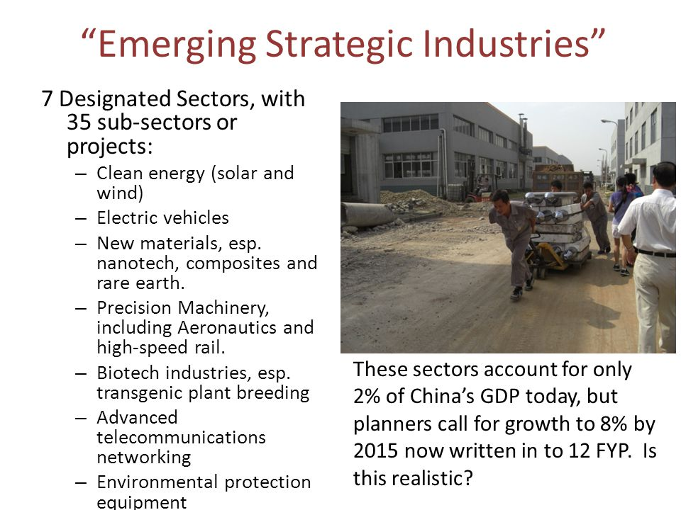 Emerging Strategic Industries 7 Designated Sectors, with 35 sub-sectors or projects: – Clean energy (solar and wind) – Electric vehicles – New materials, esp.