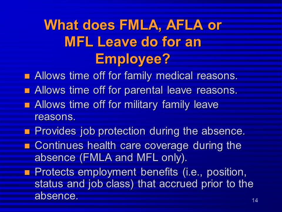 What does FMLA, AFLA or MFL Leave do for an Employee.