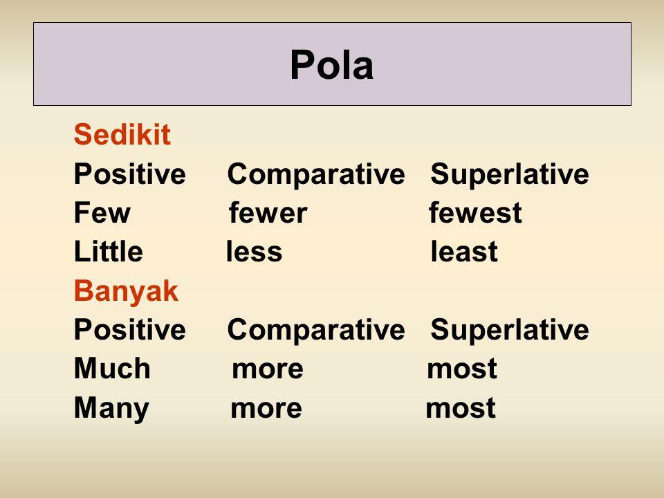 Sedikit Positive Comparative Superlative Few fewer fewest Little less least Banyak Positive Comparative Superlative Much more most Many more most Pola