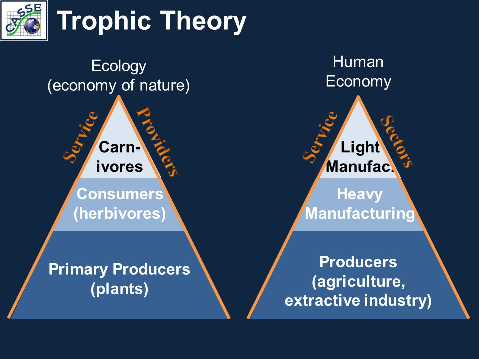 Trophic Theory Primary Producers (plants) Consumers (herbivores) Carn- ivores Ecology (economy of nature) Producers (agriculture, extractive industry)