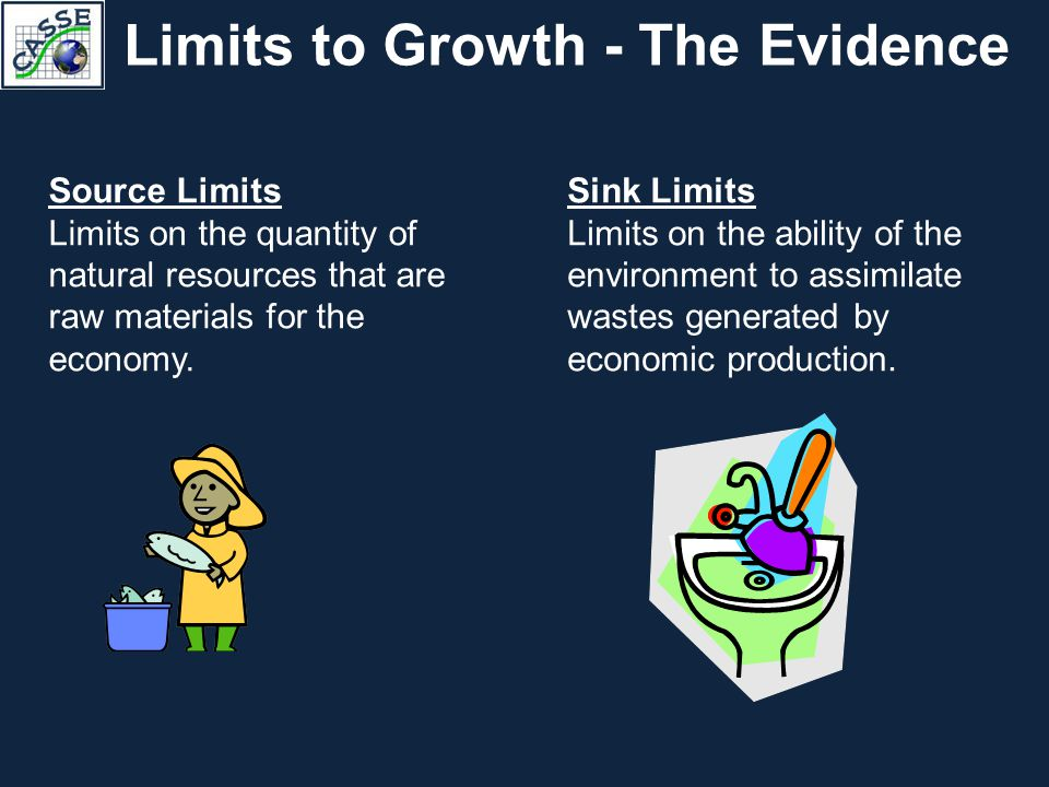 Limits to Growth - The Evidence Source Limits Limits on the quantity of natural resources that are raw materials for the economy. Sink Limits Limits o