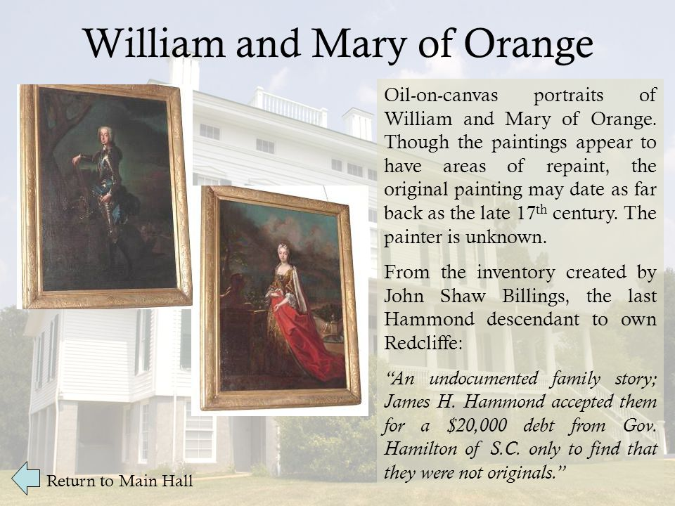 William and Mary of Orange Oil-on-canvas portraits of William and Mary of Orange.