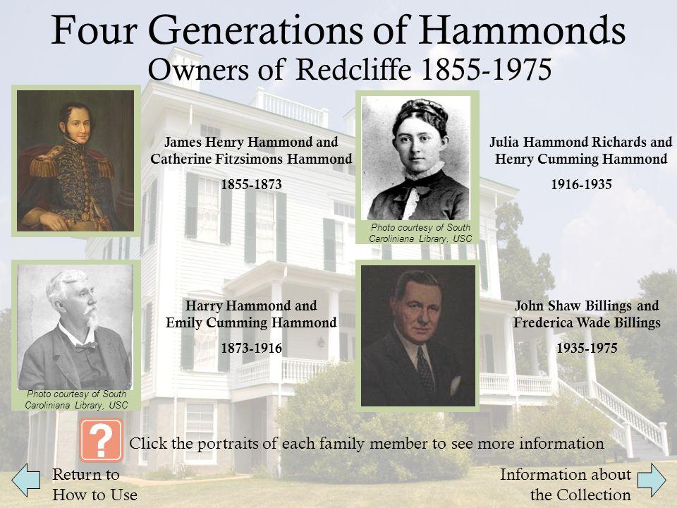 James Henry Hammond and Catherine Fitzsimons Hammond James Henry Hammond was a United States Senator and Governor of South Carolina.