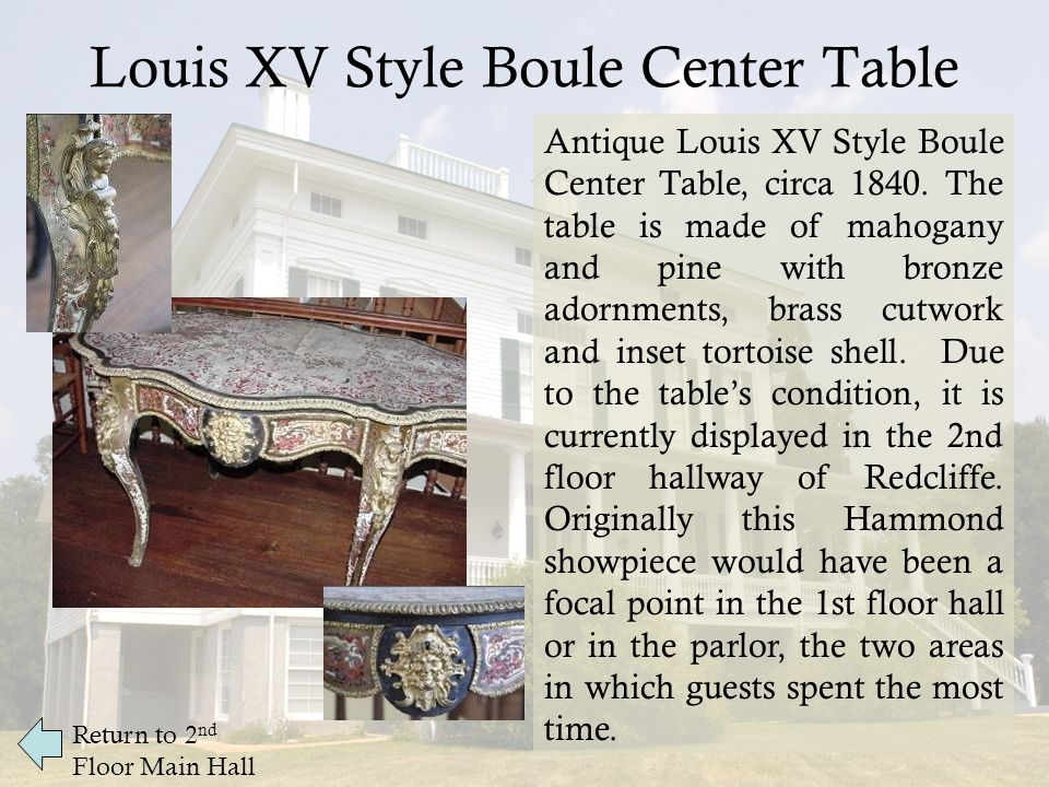 Louis XV Style Boule Center Table Return to 2 nd Floor Main Hall Antique Louis XV Style Boule Center Table, circa 1840.