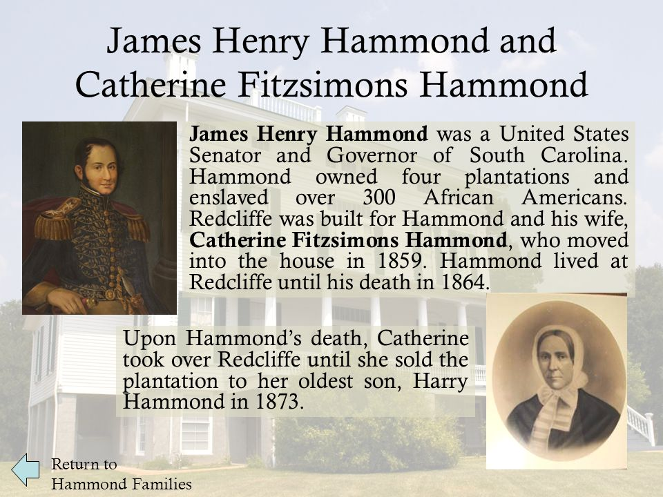 James Henry Hammond and Catherine Fitzsimons Hammond James Henry Hammond was a United States Senator and Governor of South Carolina.