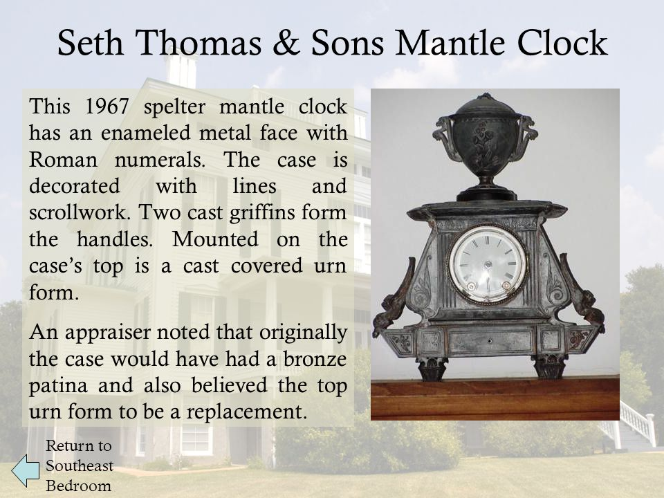 Seth Thomas & Sons Mantle Clock This 1967 spelter mantle clock has an enameled metal face with Roman numerals.