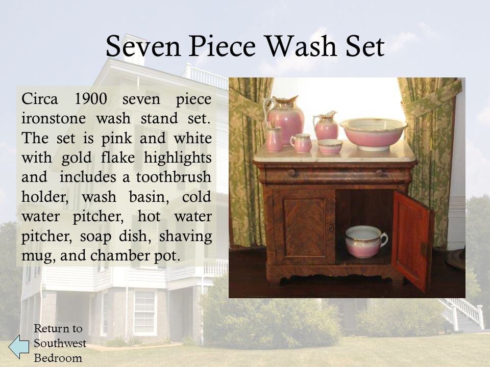 Seven Piece Wash Set Return to Southwest Bedroom Circa 1900 seven piece ironstone wash stand set.