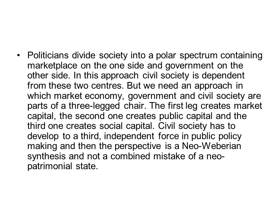 Politicians divide society into a polar spectrum containing marketplace on the one side and government on the other side.