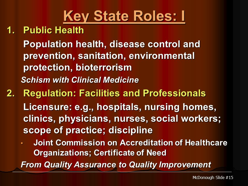 McDonough Slide #15 Key State Roles: I 1.Public Health Population health, disease control and prevention, sanitation, environmental protection, bioterrorism Schism with Clinical Medicine 2.Regulation: Facilities and Professionals Licensure: e.g., hospitals, nursing homes, clinics, physicians, nurses, social workers; scope of practice; discipline Joint Commission on Accreditation of Healthcare Organizations; Certificate of Need Joint Commission on Accreditation of Healthcare Organizations; Certificate of Need From Quality Assurance to Quality Improvement