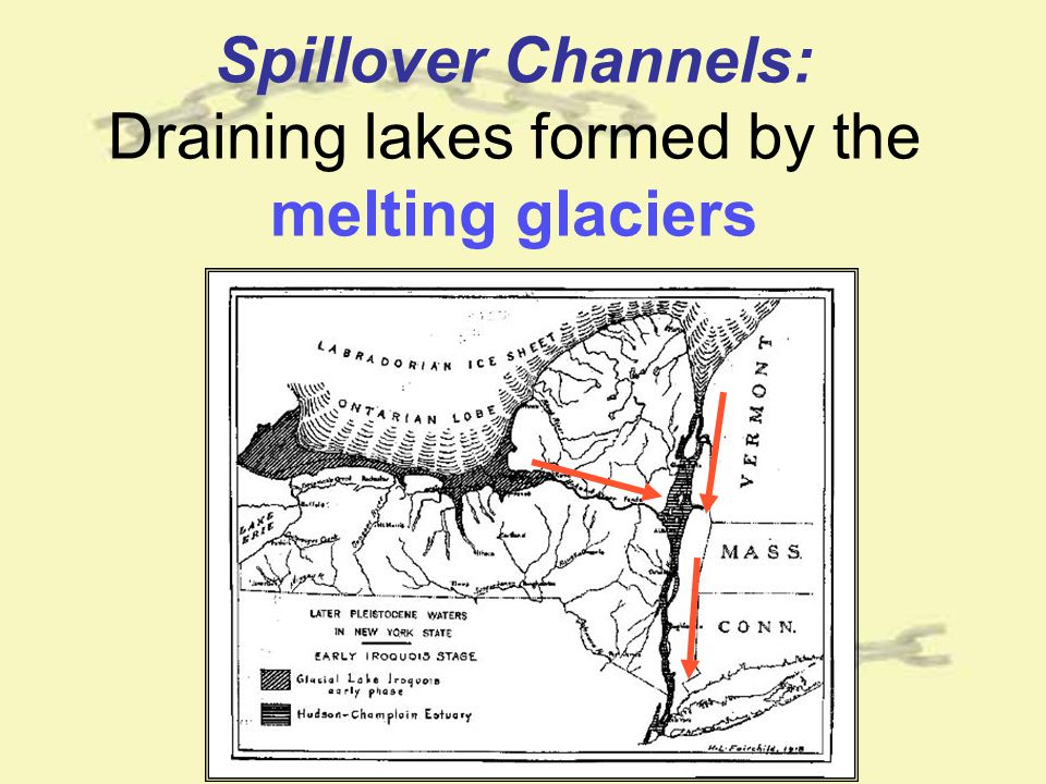Spillover Channels: Draining lakes formed by the melting glaciers