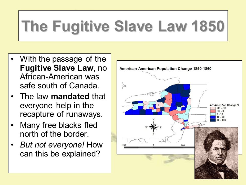 The Fugitive Slave Law 1850 With the passage of the Fugitive Slave Law, no African-American was safe south of Canada.