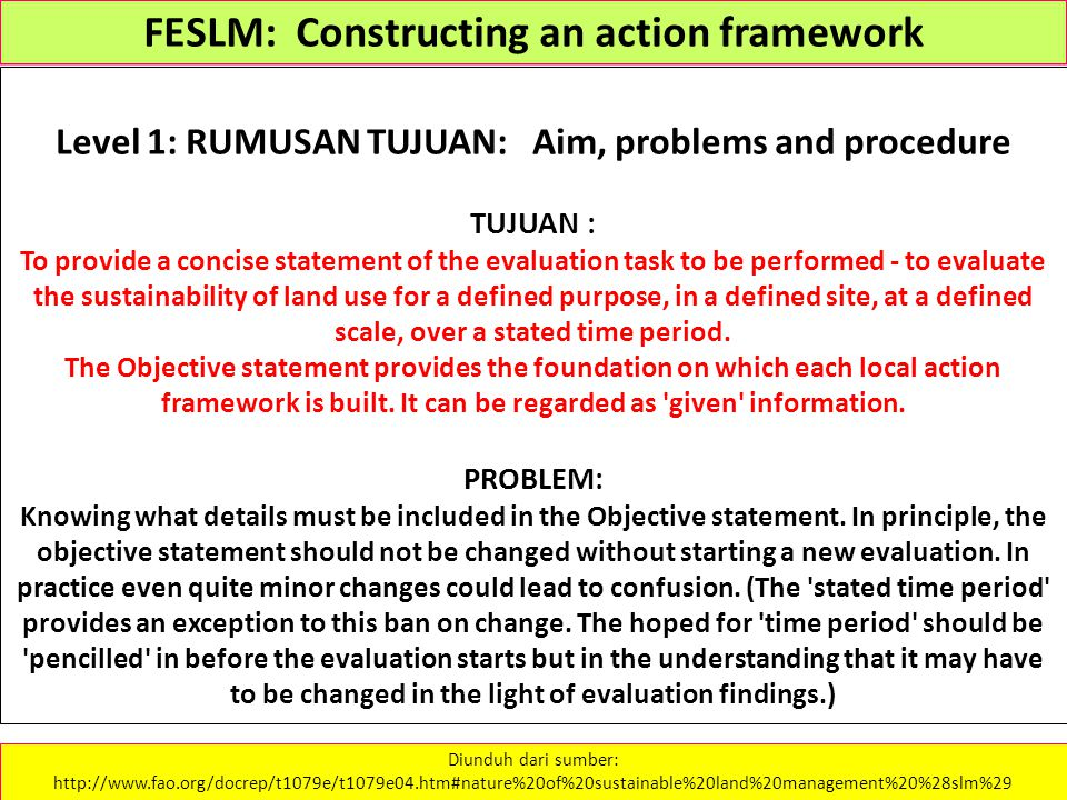 FESLM: Constructing an action framework Level 1: RUMUSAN TUJUAN: Aim, problems and procedure TUJUAN : To provide a concise statement of the evaluation
