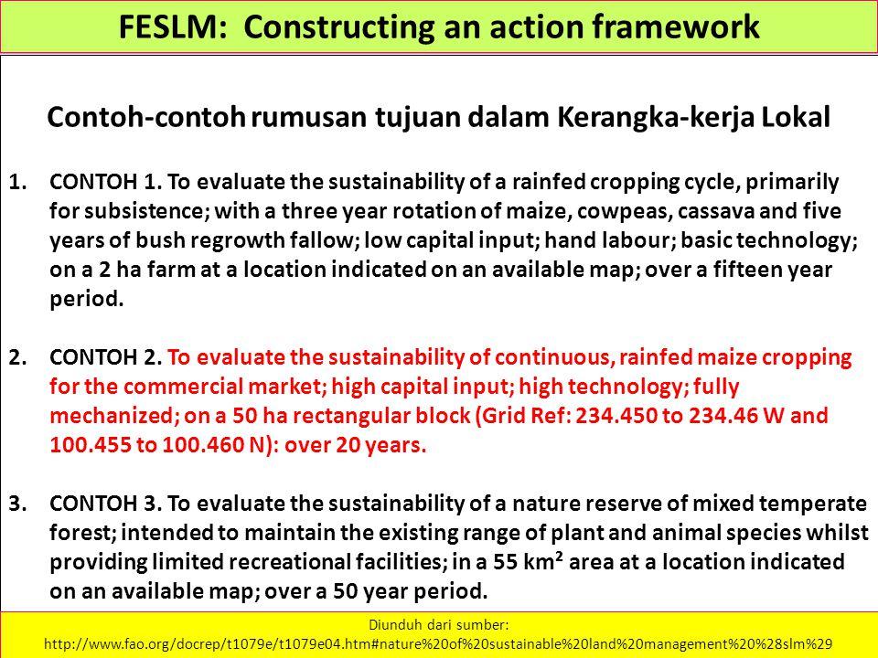 FESLM: Constructing an action framework Contoh-contoh rumusan tujuan dalam Kerangka-kerja Lokal 1.CONTOH 1.