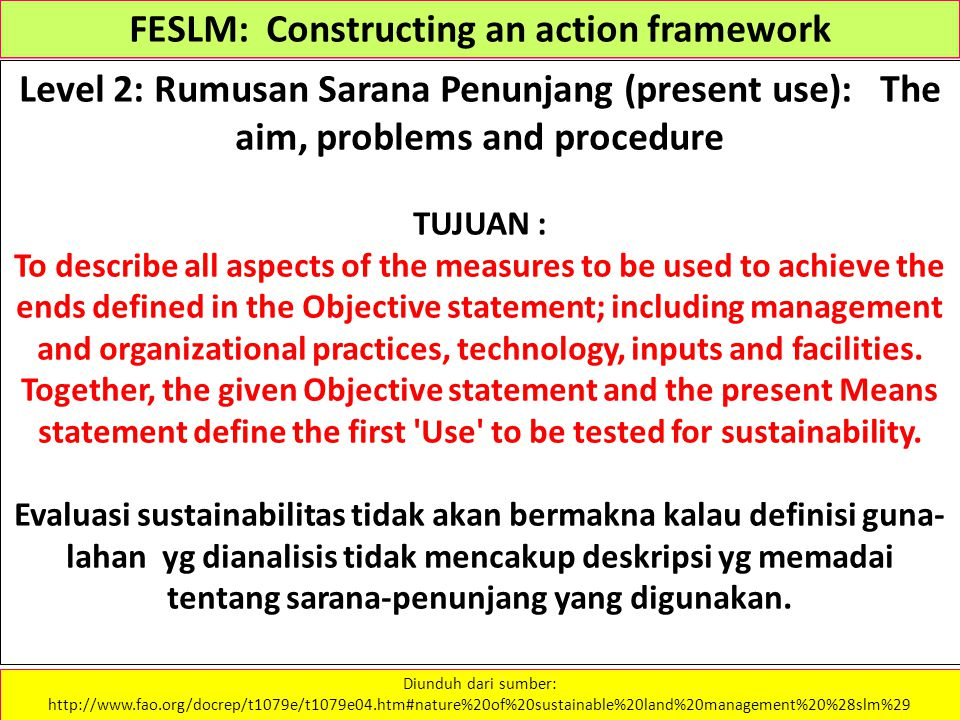 FESLM: Constructing an action framework Level 2: Rumusan Sarana Penunjang (present use): The aim, problems and procedure TUJUAN : To describe all aspe