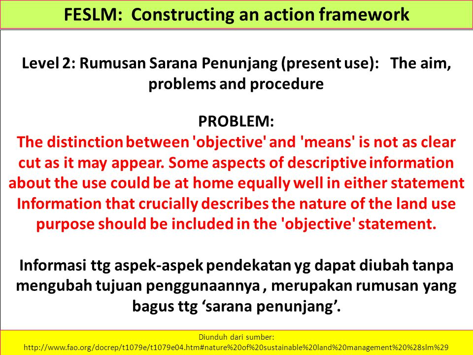 FESLM: Constructing an action framework Level 2: Rumusan Sarana Penunjang (present use): The aim, problems and procedure PROBLEM: The distinction betw