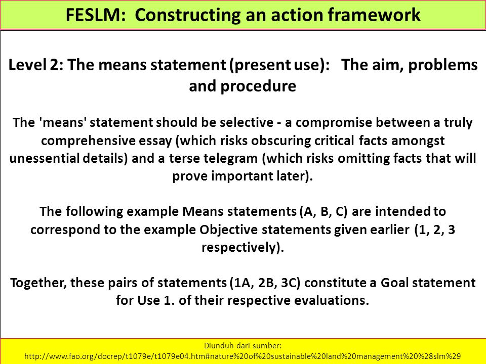 FESLM: Constructing an action framework Level 2: The means statement (present use): The aim, problems and procedure The 'means' statement should be se