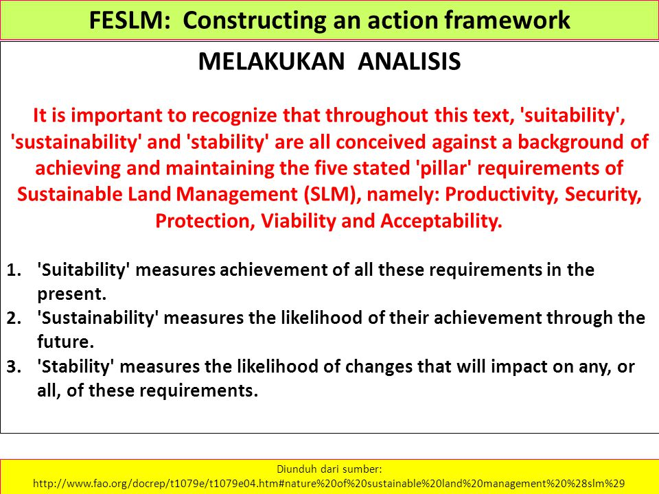 FESLM: Constructing an action framework MELAKUKAN ANALISIS It is important to recognize that throughout this text, 'suitability', 'sustainability' and