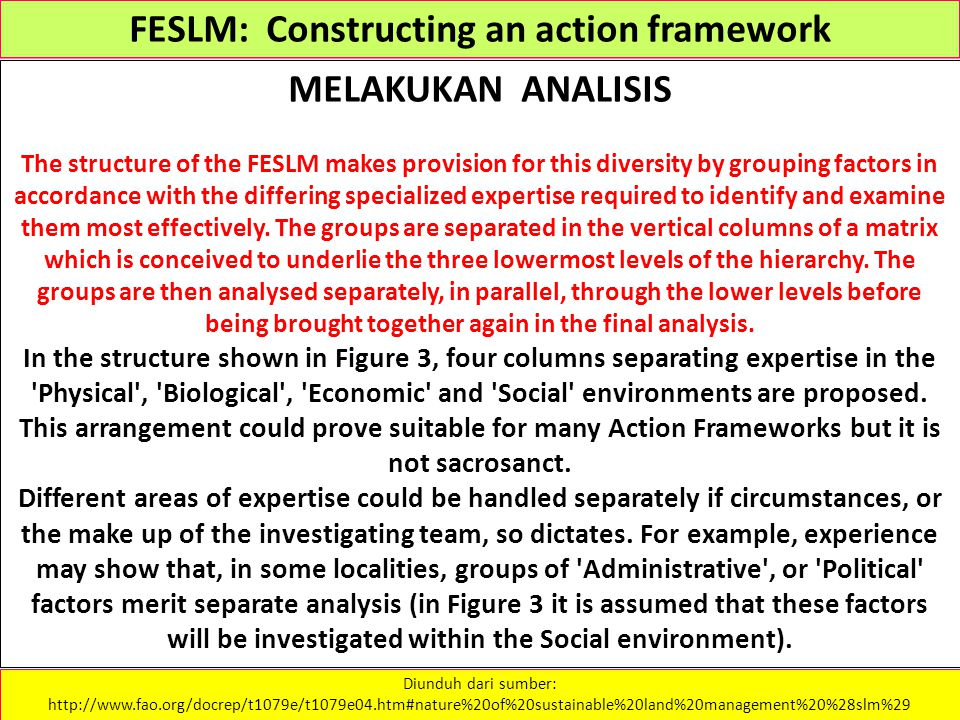 FESLM: Constructing an action framework MELAKUKAN ANALISIS The structure of the FESLM makes provision for this diversity by grouping factors in accord