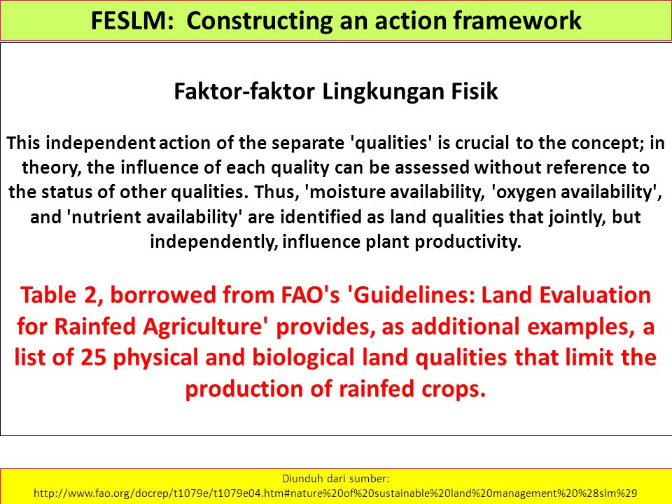 FESLM: Constructing an action framework Faktor-faktor Lingkungan Fisik This independent action of the separate 'qualities' is crucial to the concept;