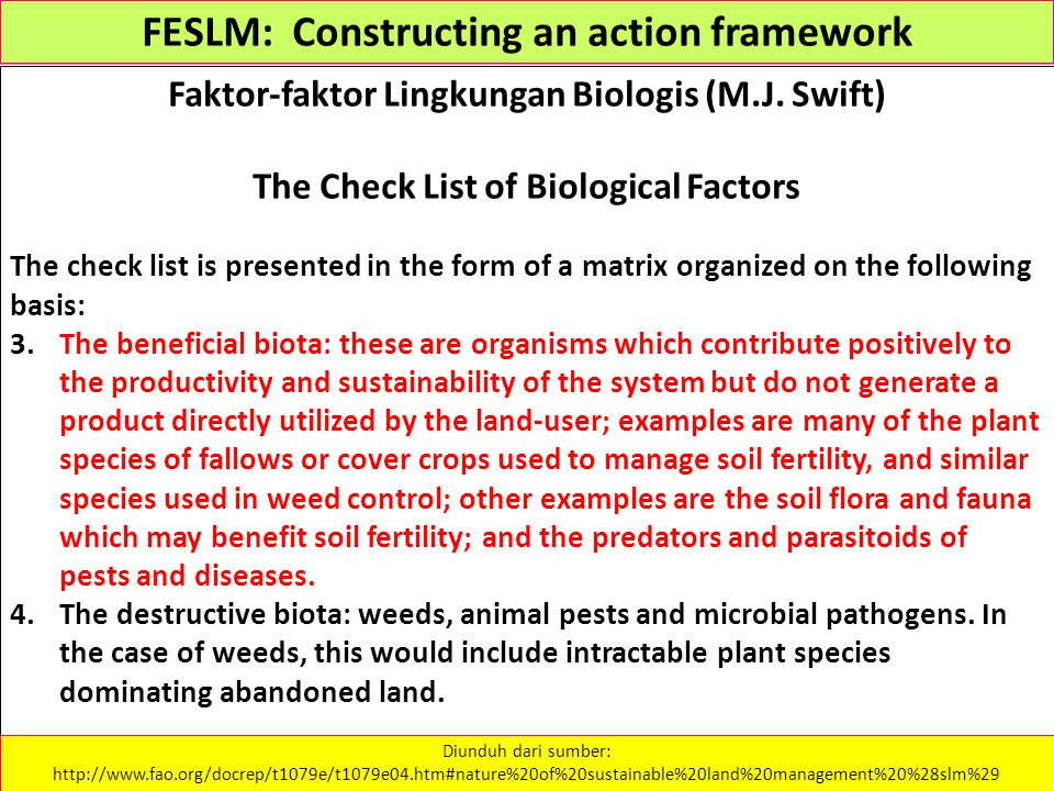 FESLM: Constructing an action framework Faktor-faktor Lingkungan Biologis (M.J. Swift) The Check List of Biological Factors The check list is presente