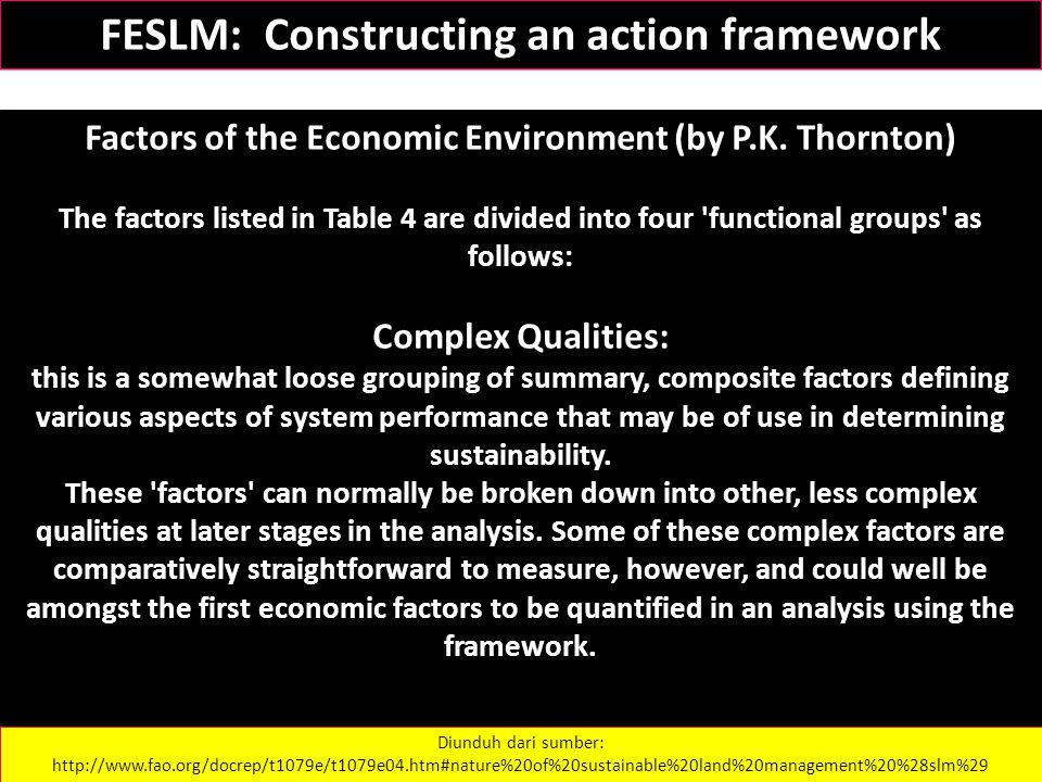 Factors of the Economic Environment (by P.K. Thornton) The factors listed in Table 4 are divided into four 'functional groups' as follows: Complex Qua