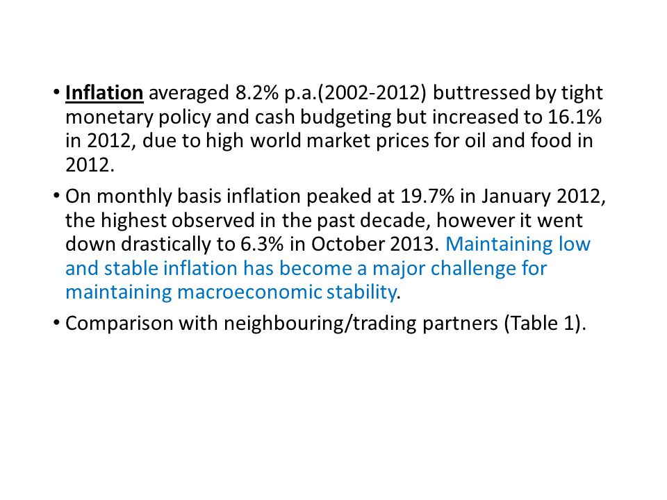 Inflation averaged 8.2% p.a.(2002-2012) buttressed by tight monetary policy and cash budgeting but increased to 16.1% in 2012, due to high world market prices for oil and food in 2012.