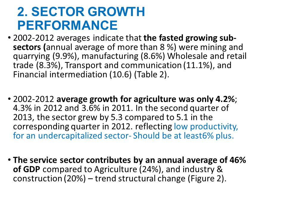 2. SECTOR GROWTH PERFORMANCE 2002-2012 averages indicate that the fasted growing sub- sectors (annual average of more than 8 %) were mining and quarry