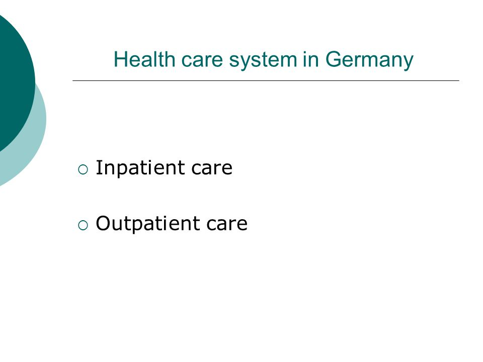 Health care system in Germany  Inpatient care  Outpatient care