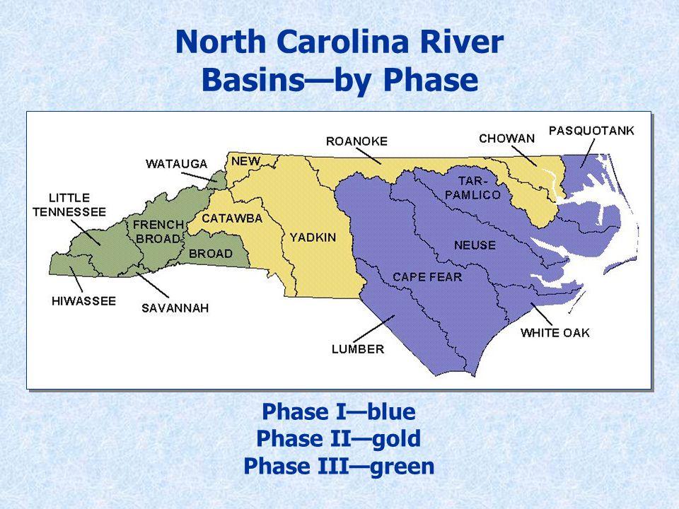 North Carolina River Basins—by Phase Phase I—blue Phase II—gold Phase III—green