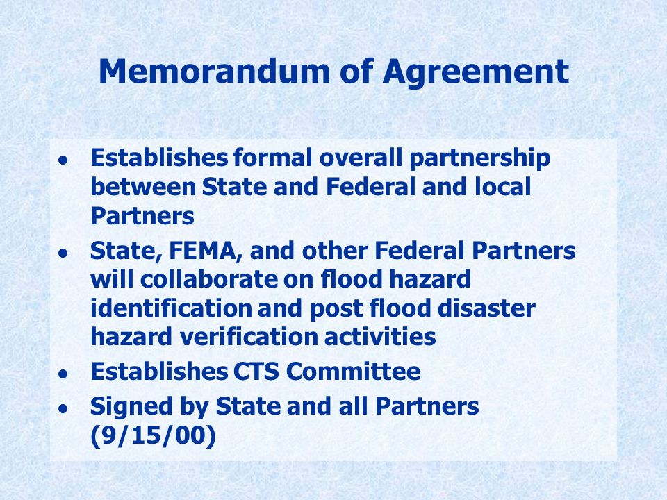 Memorandum of Agreement l Establishes formal overall partnership between State and Federal and local Partners l State, FEMA, and other Federal Partners will collaborate on flood hazard identification and post flood disaster hazard verification activities l Establishes CTS Committee l Signed by State and all Partners (9/15/00)