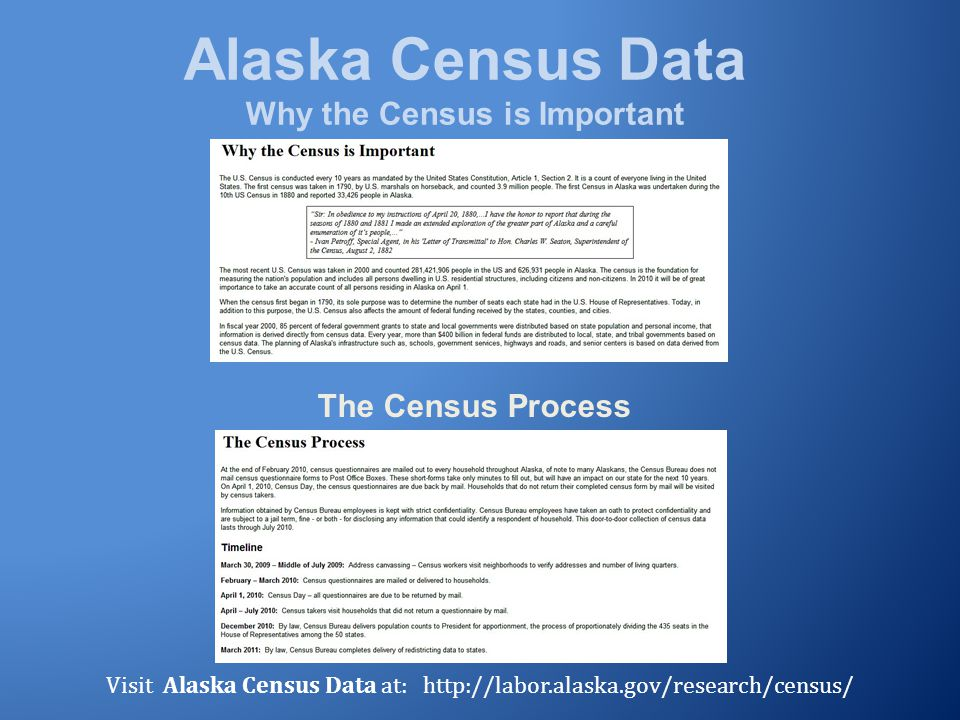 Alaska Census Data Why the Census is Important The Census Process Visit Alaska Census Data at: http://labor.alaska.gov/research/census/
