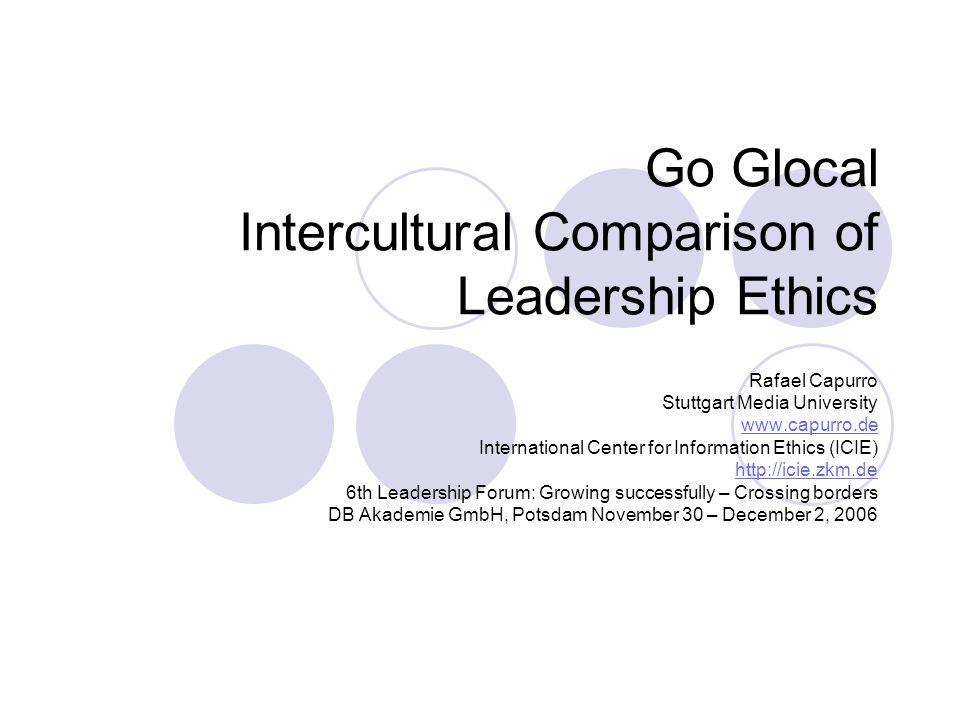 R.Capurro: Leadership Ethics East/West2 Content Introduction I.
