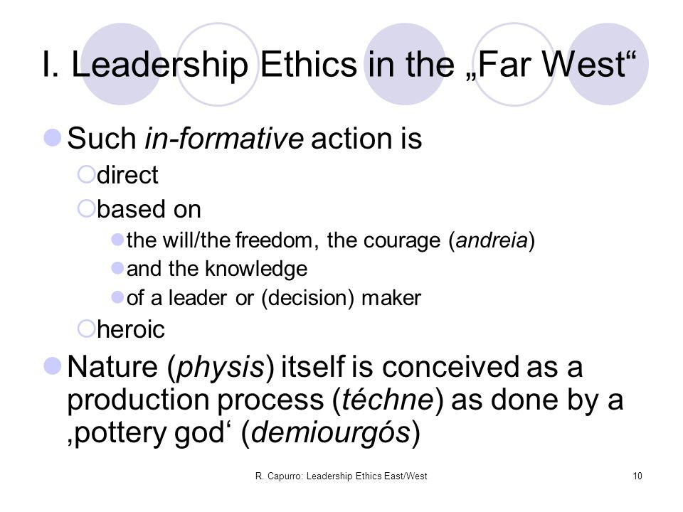 R. Capurro: Leadership Ethics East/West10 I.