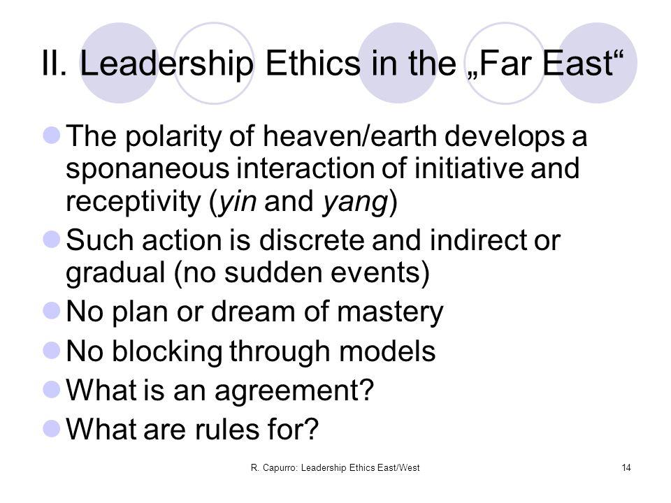 R. Capurro: Leadership Ethics East/West14 II.