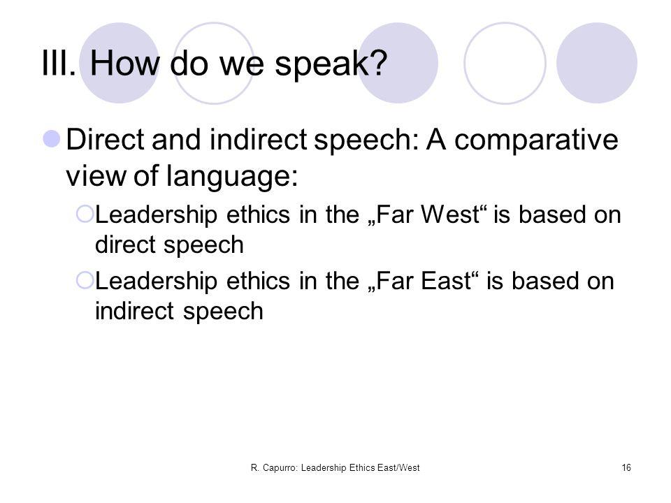 R. Capurro: Leadership Ethics East/West16 III. How do we speak.