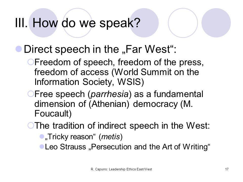 R. Capurro: Leadership Ethics East/West17 III. How do we speak.
